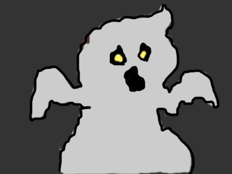 graphic of angry ghost