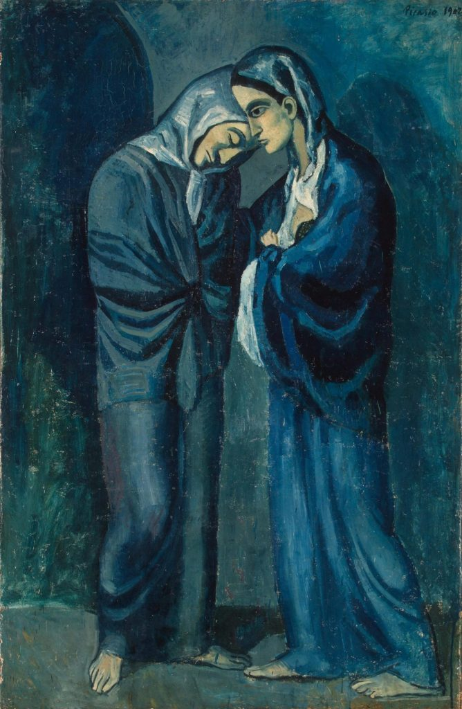 Picasson painting of a woman prostitute with her sister a nun. Painted in blue and blue-green
